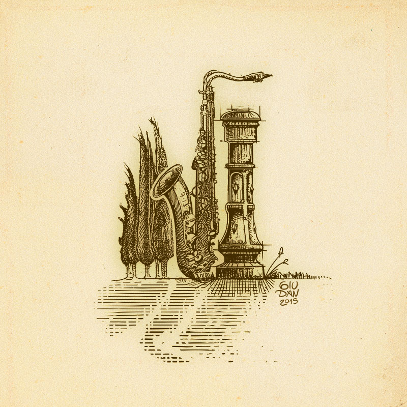 Cypress, fountain and sax